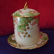 Antique Limoges Handpainted Condensed Milk or Jam Container artist LEON