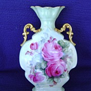 Vintage Handpainted Limoges Vase Decorated with Roses