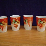 Antique Limoges Handpainted Currant Decorated Mugs