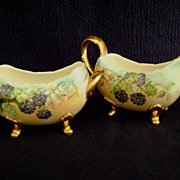Antique Limoges Handpainted Cream and Sugar with Berries