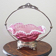 SALE Vintage Brides Basket with Fenton Style Bowl
