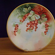 Antique Limoges Handpainted Plate Decorated with Currants