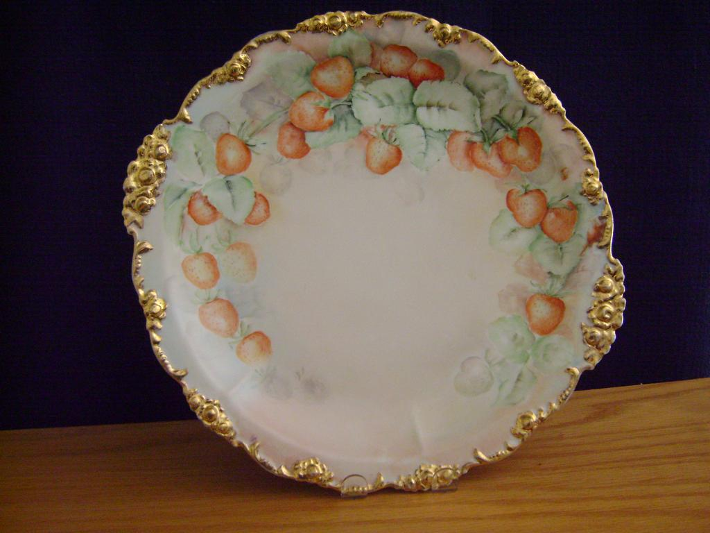 Vintage Limoges Handpainted Charger plate Decorated with Strawberries