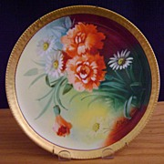 Vintage Limoges Handpainted Plate with Poppy and Daisy, Pickard