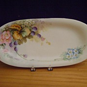 Vintage Limoges Handpainted Celery Dish with Blackberries