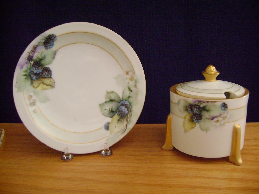 Vintage Handpainted Mustard Container with Berries