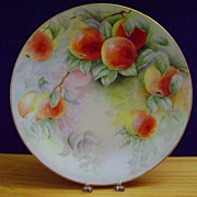 Antique Limoges Handpainted Charger Plate with Apples