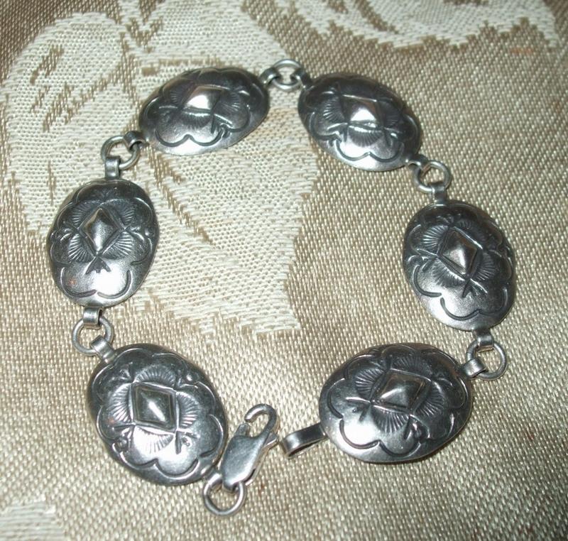 Sterling Silver Concho Bracelet