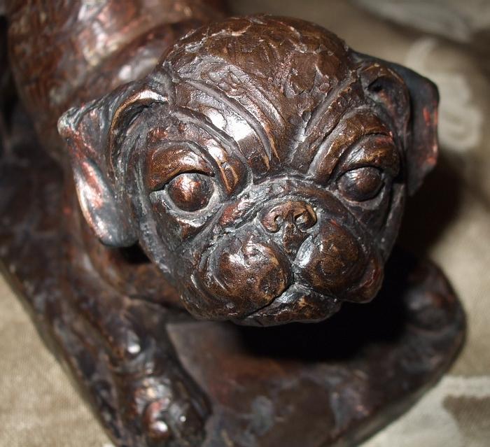 Made In England Pug Dog Bookends Signed Doris Lindner