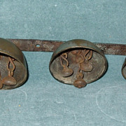 Great Early Primitive Sleigh Bells In Graduated Sizes