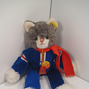 Steiff's Totally Funky Dangling Cat In a Sweatsuit With All IDs Including FAO Schwarz Tag