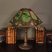 Floral Wreath Slag Glass Panel Lamp