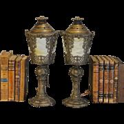 Lovely Ornate Pair Slag Glass Mantle Lamps
