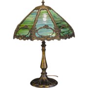 Multi Color Slag Glass Cartouche Lamp