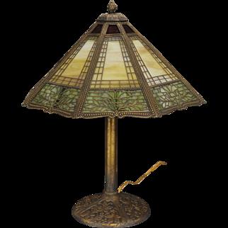 Ornate Miller Floral & Brickwork Arts & Crafts 24 Panel Slag Glass Lamp