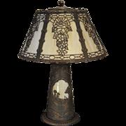Large Lighthouse Slag Glass Lighted Base Lamp w 12 Panel Shade