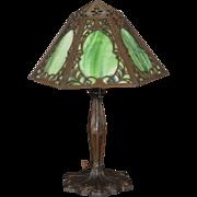Lovely Mid-Size Art Nouveau Slag Glass Lamp