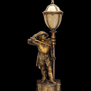 Large Stunning Cavalier Figural Lamp w/ Slag Glass Shade