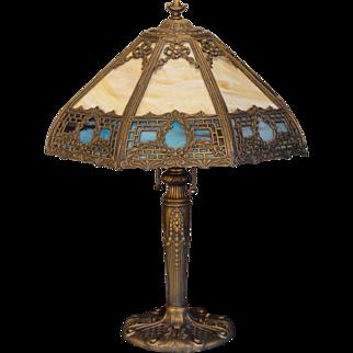Stately 16 Panel Wreath & Bow Slag Glass Lamp