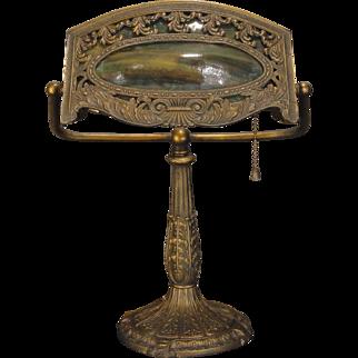 Awesomely Ornate Bump Slag Glass Desk Lamp