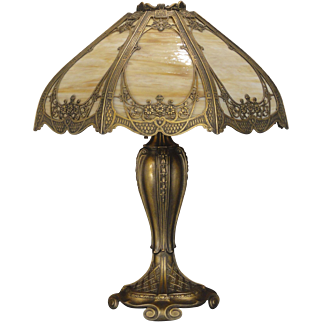 Exquisitely Fancy Golden Gothic Slag Glass Lamp