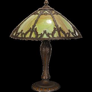 Large Stunning Oak Leaf & Acorn Arts & Crafts Slag Glass Lamp