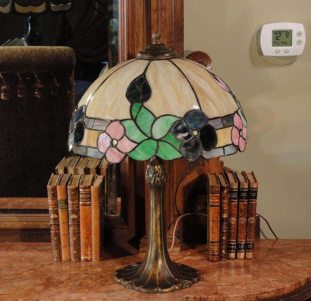 Pittsburgh Art Nouveau Leaded Slag Glass Lamp