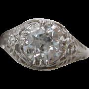 1.22 carat Old European Cut Diamond set in Platinum  c. 1925