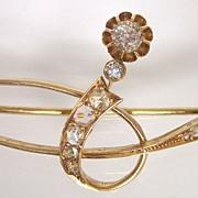 Russian Art Nouveau 14K Gold Diamond Pin Brooch