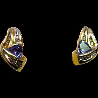 Tanzanite and Diamond 14K Yellow Gold Earrings