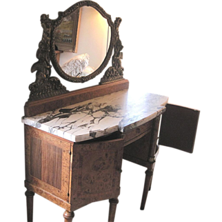French Art Nouveau Dore Gilded Bronze Table With Matching Bedside Tables