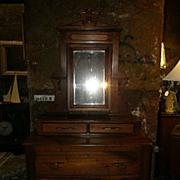 Victorian Walnut Dresser with Mirror