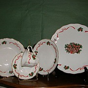 """Vintage Christmas China made in Poland by Baum """"Holiday Ribbon"""""""