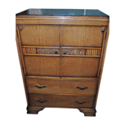 English Art Deco Cabinet & Drawers in Oak