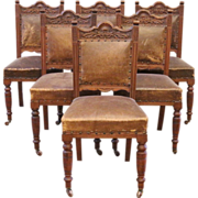 Antique Dining Chairs, Carved Mahogany & Leather, Victorian, English. Set of 6.