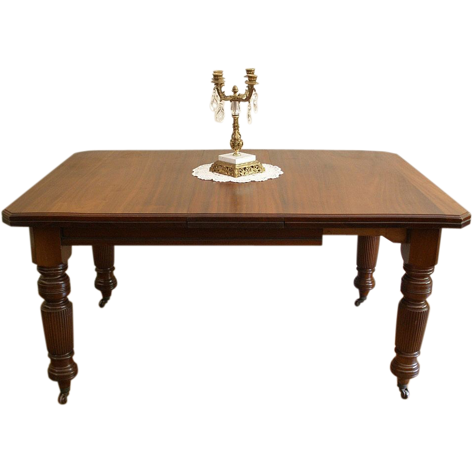 Antique Dining Table, English Victorian Mahogany Wind Out Extending.