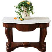 Antique Marble Top Wash Stand, Console Table, Mahogany, English, Victorian.