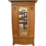 Antique Wardrobe, Armoire, English Oak Victorian Mirrored.