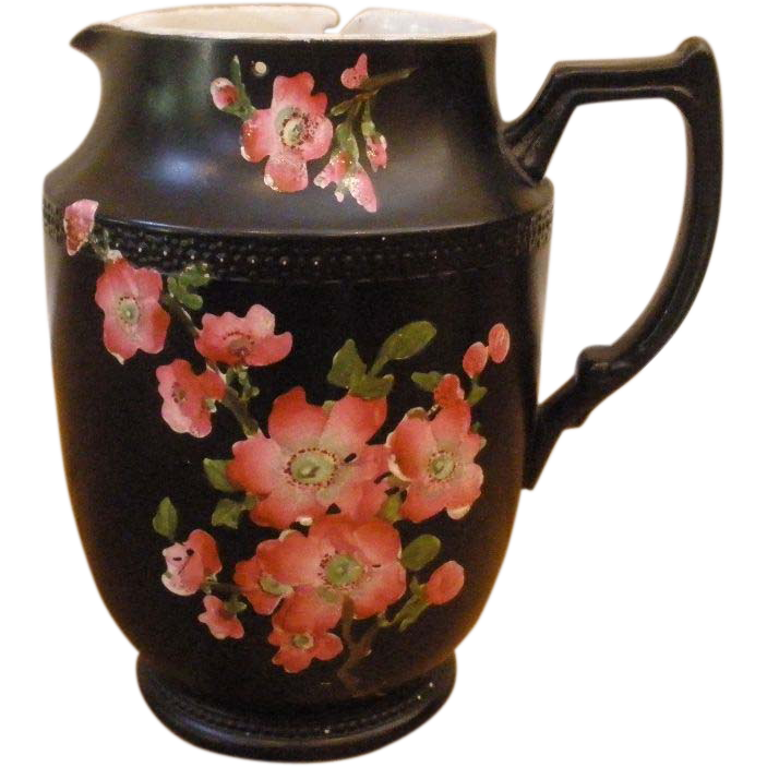 Antique Carlton Ware Pottery Jug, English, Hand Painted, Black With Pink Flowers.