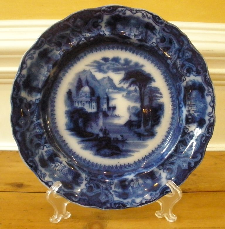 Antique Ironstone Flow Blue Plate, Sam Alcock & Co English C.1840.-FREE SHIPPING-