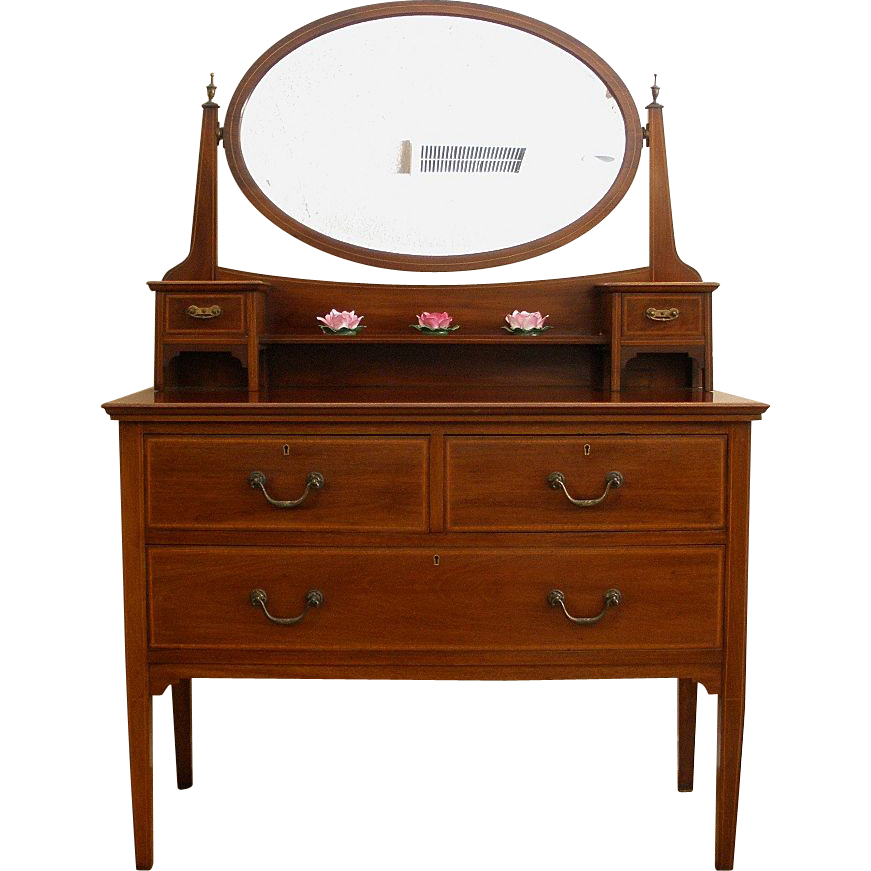 Antique English Mahogany Edwardian Inlaid Dressing Table With Mirror.