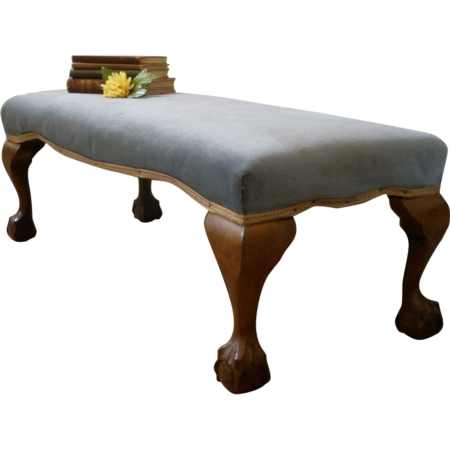Antique English Long Upholstered Chippendale Style Foot Stool Bench. -FREE SHIPPING-