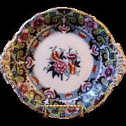 Antique English Ironstone Polychrome Cake Plate