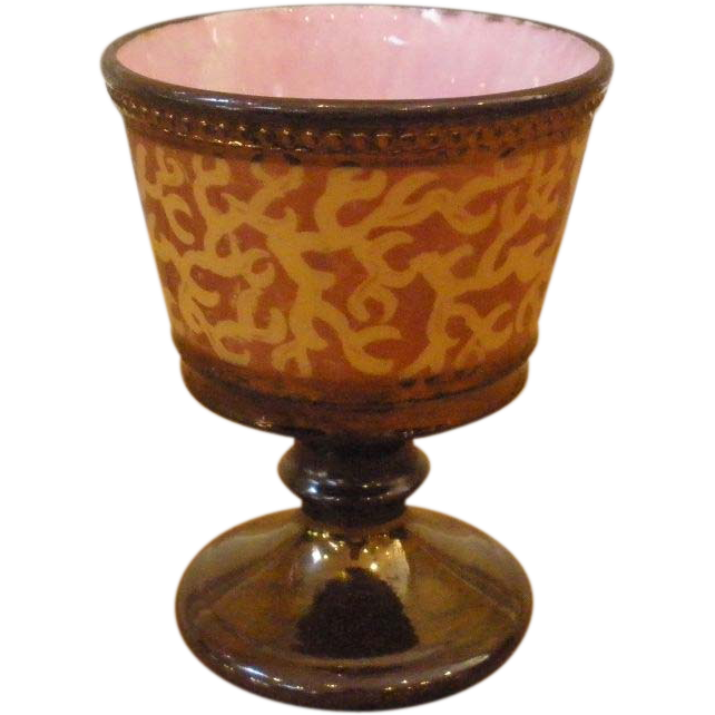 Antique Copper & Pink Luster Pottery Goblet, Cup, English.