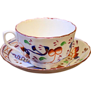 Antique English Tea Cup & Saucer, Gaudy Welsh, 19th Century.