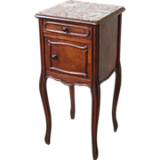 Antique Side Cabinet, Night Stand, Marble Top.