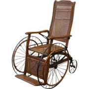 Antique Oak and Cane Reclining Wheelchair American C.1900