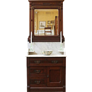 Antique Wash Stand, Marble Top, Mirror Back, Eastlake Style, American.