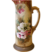 Antique Tall Tankard, Pitcher, Jug. Hand Painted Porcelain.