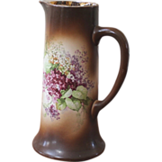 Antique Bisque Tall Painted Pitcher, Tankard, Chicago ILL